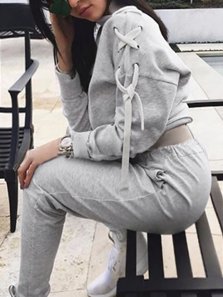 Grey Crop High Neck Top and Drawstring Waist Pants Co-ord