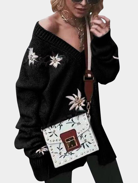 Black Embroidered Pattern V-neck Long Sleeves Sweaters