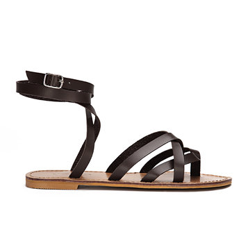 Brown Pin Buckle Tie-up Ankle Strap Cross Over Flat Gladiator Sandals