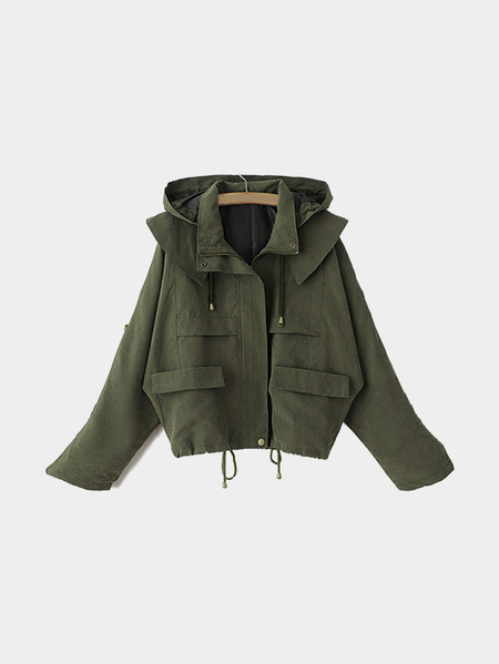 Army Green Hoodie Zipper Drawstring Design Short Length Trench Coat