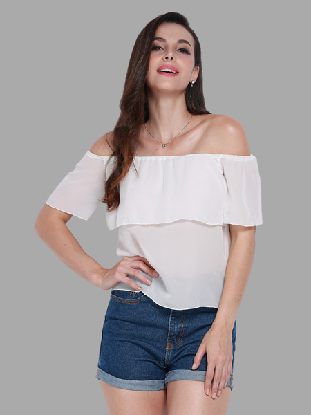 Sheer Off Shoulder Flounce Chiffon Top