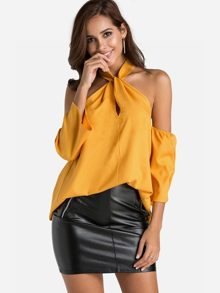 Yellow Halter Cold Shoulder Blouse