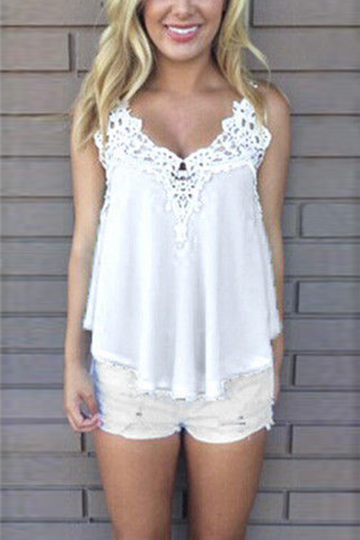 Blanco Chiffon Crochet Hollow Cami Top