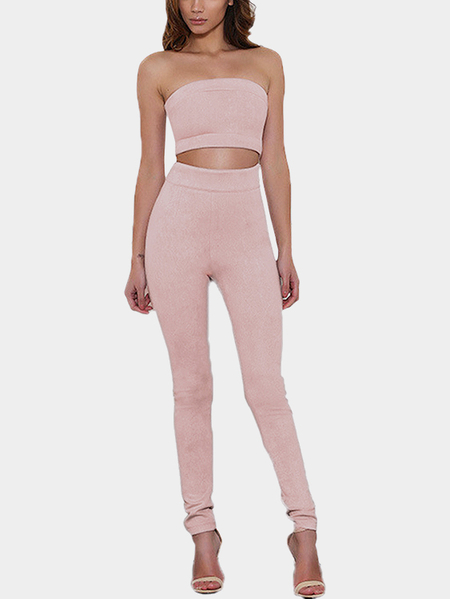 Fashion Pink Strapless Crop top with Pants Co-ords