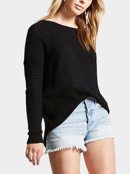 Black Oversize Hollow Out Back Knit Sweater