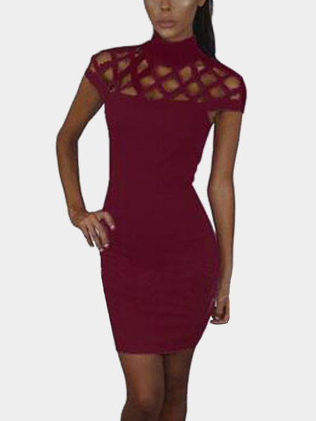 Burgundy Sexy Hollow Details Sleeveless Casual Dress