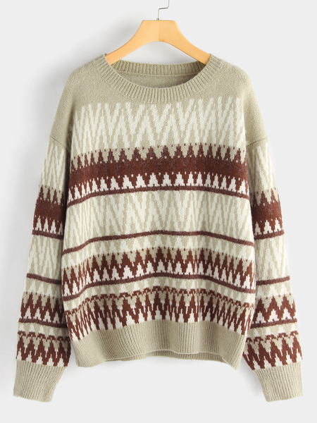 Khaki Casual Tribal Print Round Neck Long Sleeved Pullover Sweater