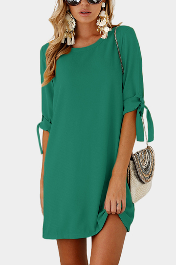 Green Self-tie at Sleeves Mini Dress