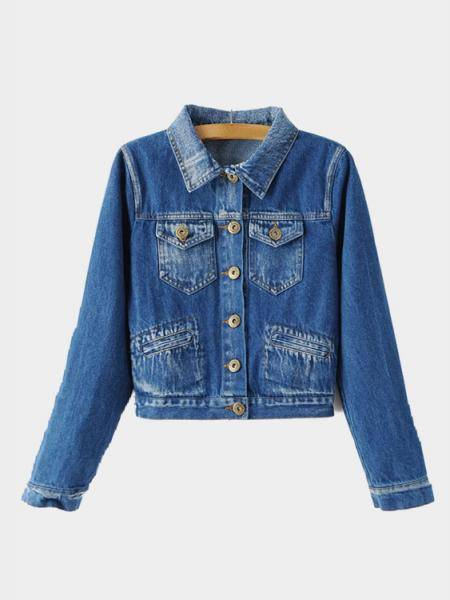 Blue Classic Collar Short Denim Jacket с двумя карманами для сундуков