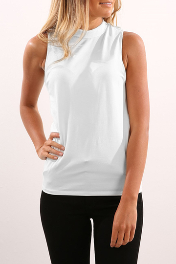 Chiffon Sleeveless High Neck Cami Top in White