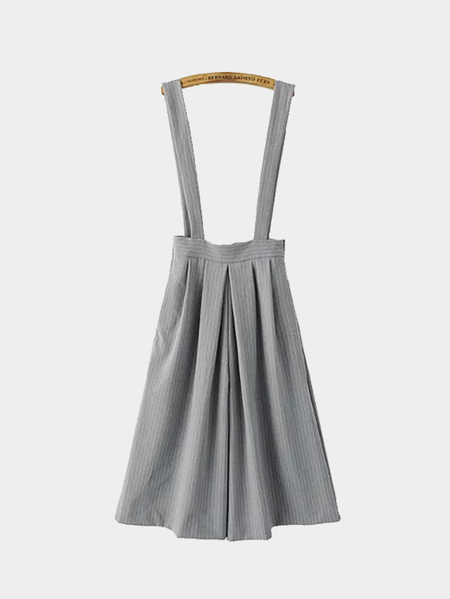 Stripe Suspender Cropped Culottes in Grey