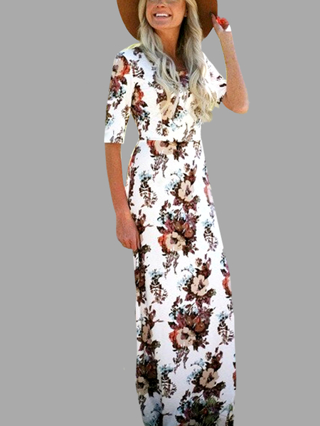 Random Floral Print Half Sleeves Maxi Dress