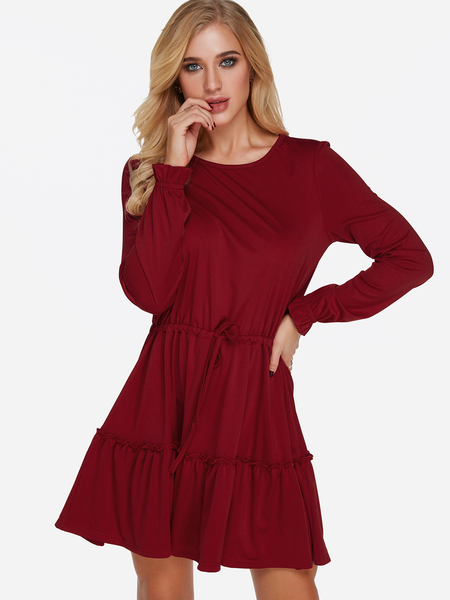 Burgundy Round Neck Long Sleeves Drawstring Waist Flounce Hem Dress