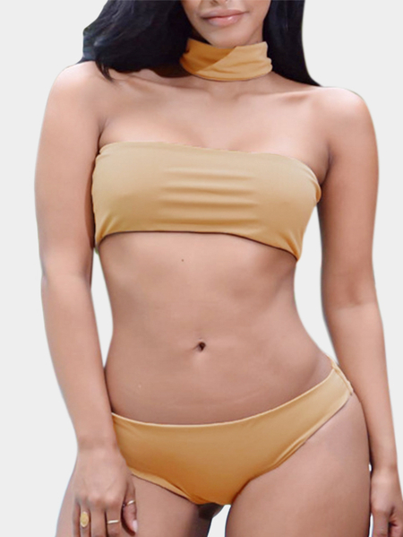 Bodycon Choker-neck Bikini Set in Khaki