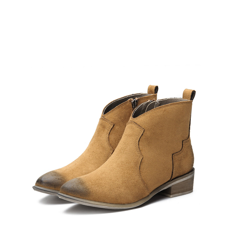 Brown Suede Zipper Design Flat Ankle Boots