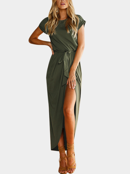 Army Green Plain Short Sleeves Slit Hem Maxi Dress