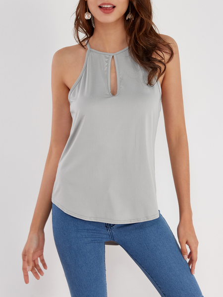 Grey Sleeveless Design Chest Cut Out Top