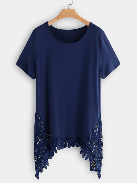 Dark Blue Lace Splicing Round Neck Short Sleeves T-Shirt