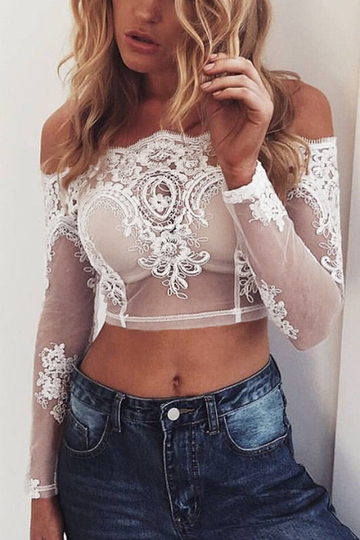 Off Shoulder Crop with Lace Details