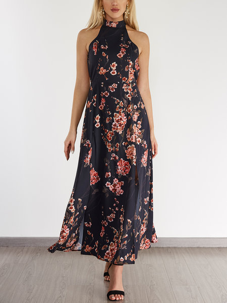 Black Backless Floral Print Halter Sleeveless Splited Hem Dress