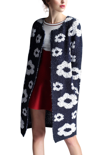 Flower Print Cardigan in Navy