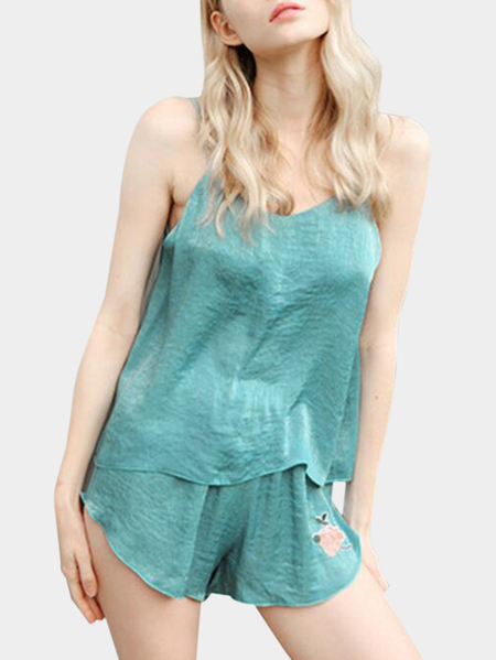 Cyan Rose Embroidery V-neck Sleeveless Pajama Set
