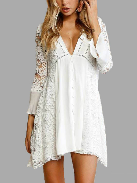 White Lace Details V Neck Long Sleeves Mini Dress