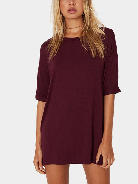 Burgundy Fashion T-shirt Mini Dress
