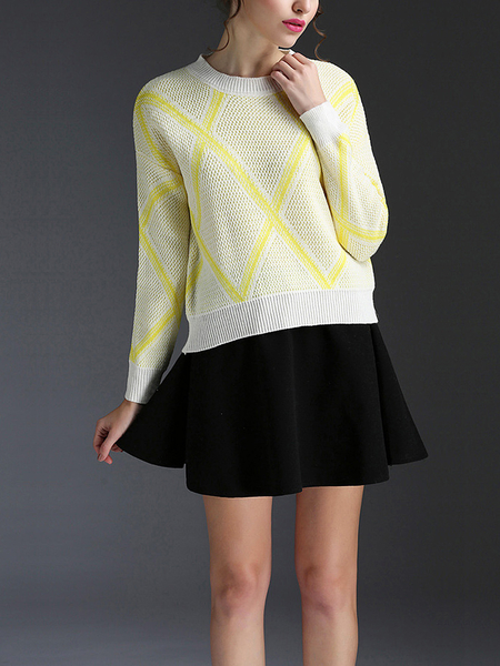 Yellow Rhombus Pattern Jumper and Flounced Hem Mini Skirt
