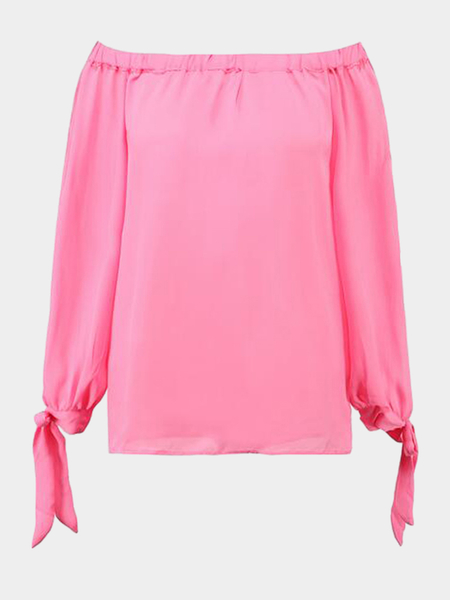Pink Off Shoulder Sleeves Side Slit Chiffon Blouse