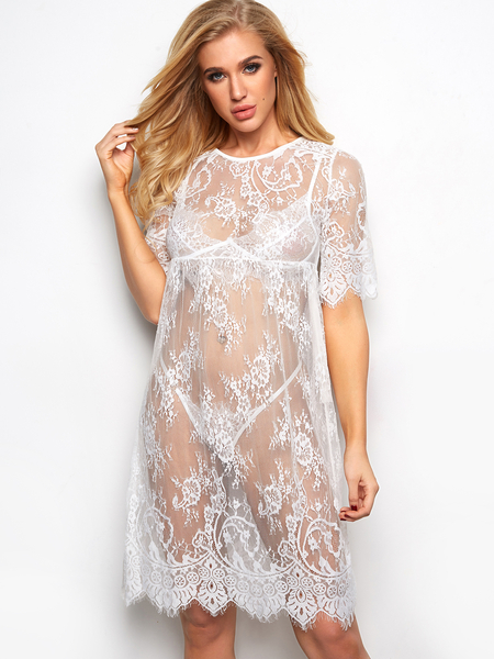 White Bathing Suit Cover Ups Beachwear Lace Long Dress