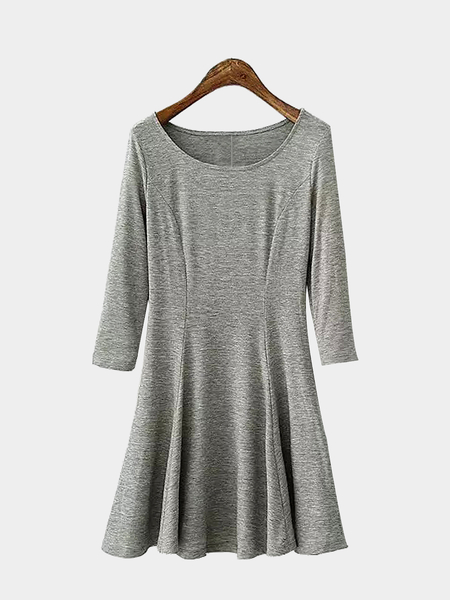 Grey 3/4 Sleeves Mini Dress