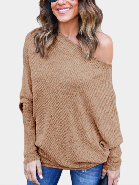 Lightweight Off Shoulder Bat Long Sleeves Loose Jumper In Khaki