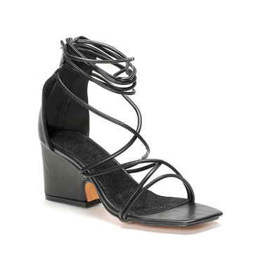 Black Crossing Strap Lace-up Chunky Heel Sandals