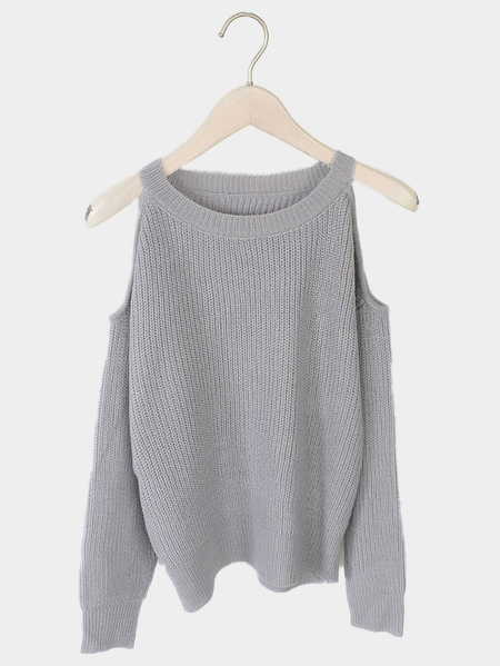 Gray Cold Shoulder Long Sleeves Sweater