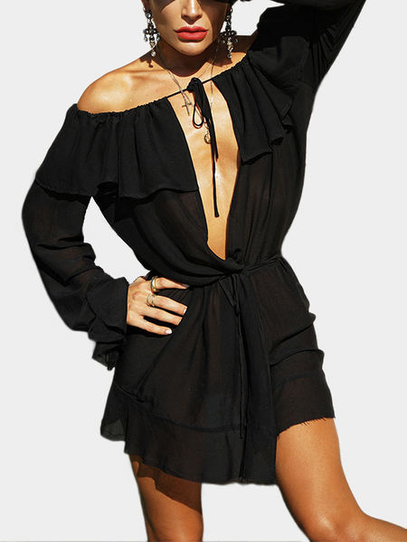 Black Off Shoulder Ruffle Cover Deep V-neck Mini Dresses
