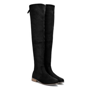 Black Suede Lace-up Back Knee High Boots