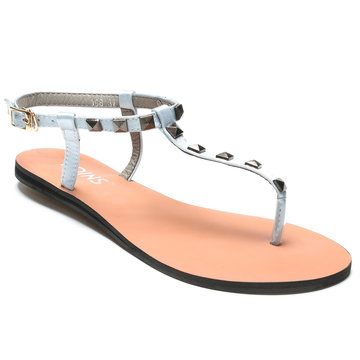 Light Grey T-bar Design Studded Embellished Flat Sandals