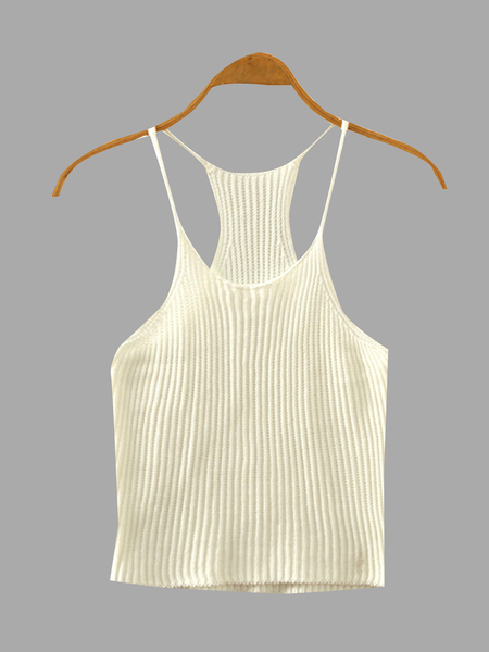 White Fashion Sleeveless Knit Top