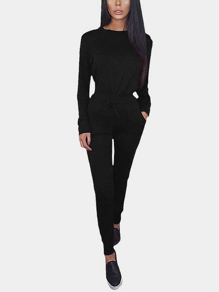 Black Round Neck Drawstring Waist Long Sleeve Co-ords