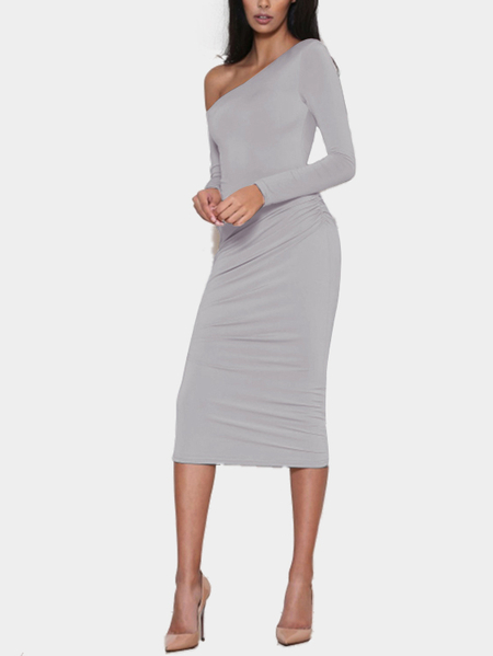 Gray Sexy One Shoulder Pleated Midi Bodycon Dress