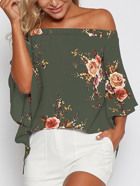 Random Floral Print Off Shoulder Slit Blouse in Army green