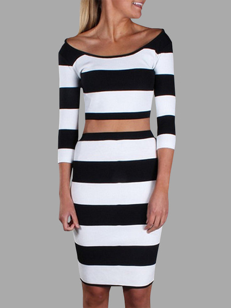 Stripe Pattern Round Neck 3/4 Length Sleeves Two Piece Outfits