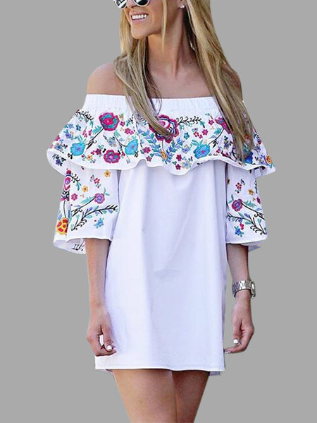 White Layered Design Random Floral Print Off The Shoulder Mini Dress