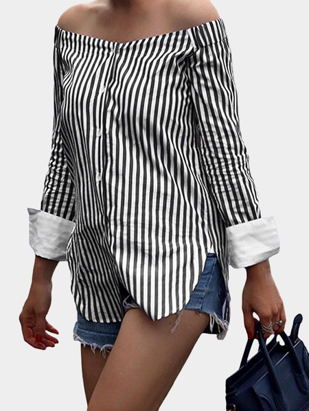Black Stripe Off The Shoulder Blusas de manga comprida