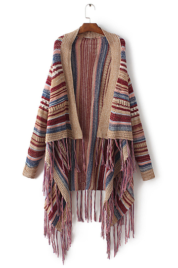 Moda Boho Color Block Taseel Cardigan