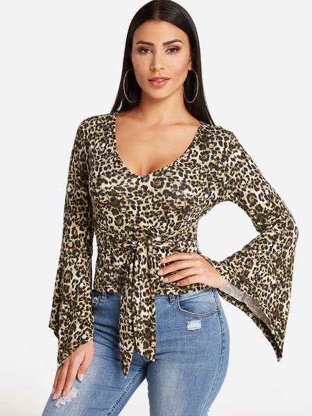 Leopard Self-tie Design Deep V Neck Long Bell Sleeves T-shirts