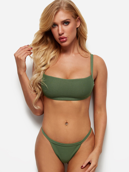 Army Green Simple Square Neck High Cut Bikini Set