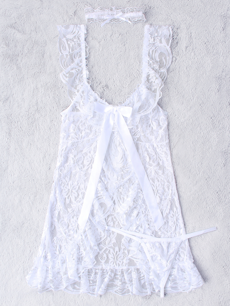 White Sexy Deep V-neck Lace Detail Pajamas with T-back