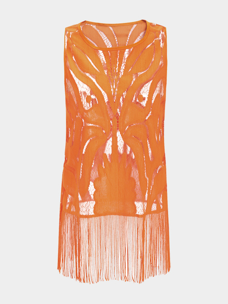 Orange Hollow Tassel Sleeveless Sexy Top